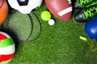 Various sport balls on grass